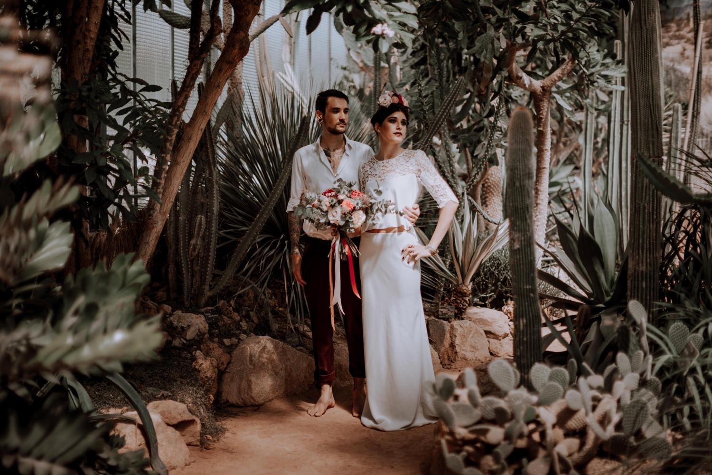photographe mariage Lyon ,Parc de la tête d'or, Lyon, cactus, portrait, bouquet de la mariée, photographe mariage Rhône alpes